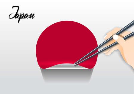 Japanese culture,Symbol of Japan, paper cut style illustration.