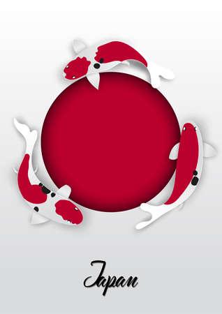 Japanese flag design with koi carp fish,paper cut style illustration. Çizim