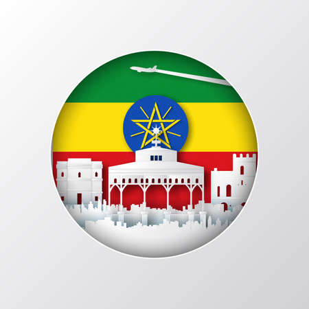 Paper cut style of world famous landmark of Ethiopia on flag,travel postcard and poster,vector illustration.