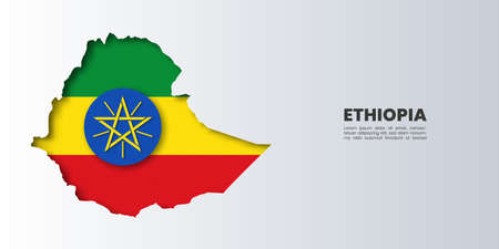 Paper cut out of Ethiopia map on flag,vector paper art and digital craft style.