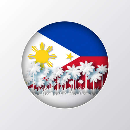 Paper cut style of world famous landmark of Philippines on flag,travel postcard and poster, vector illustration. Vectores