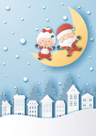 Santa Claus and  girlfriend on moon,Merry christmas and happy new year,Paper cut style vector illustration