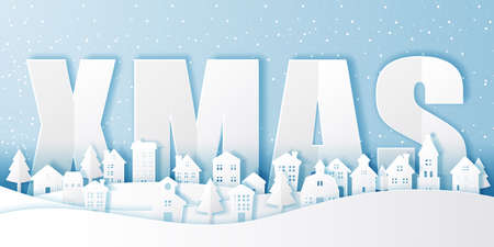 Winter snow urban countryside landscape city village,Happy new year and merry christmas,paper art and cut style