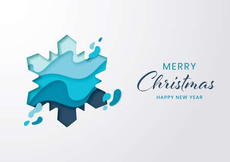 Paper cut winter snowflake for christmas and happy new year,Paper art style Çizim