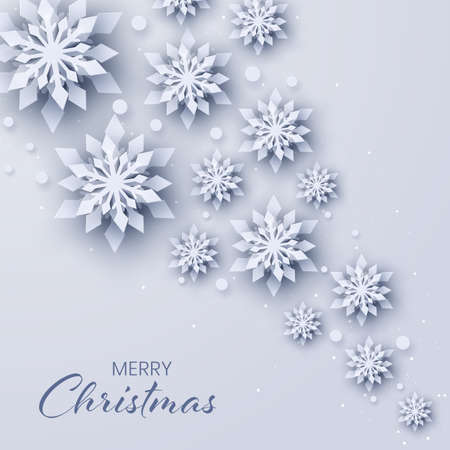 Abstract Christmas background with paper snowflakes,Xmas and new year card template,Winter paper art design