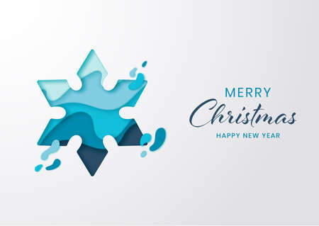 Paper cut winter snowflake for christmas and happy new year,Origami paper art style
