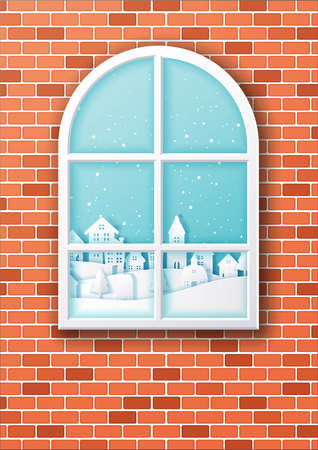 Christmas window with city village,Paper art and digital craft style Çizim