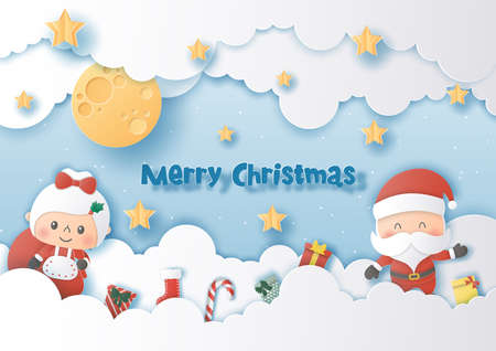 Origami paper art of santa Claus and girlfriend, Merry Christmas and Happy New Year