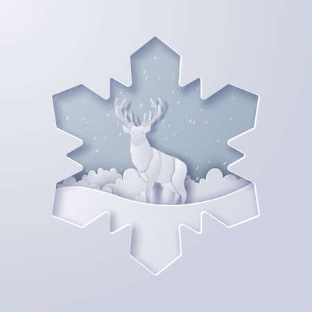 Deer in snowflake paper cut, Merry Christmas and Happy New Year,Paper art design and craft style Ilustracja
