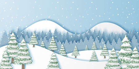 Winter landscape background,Christmas and Happy New Year,Paper art design and craft style Ilustrace