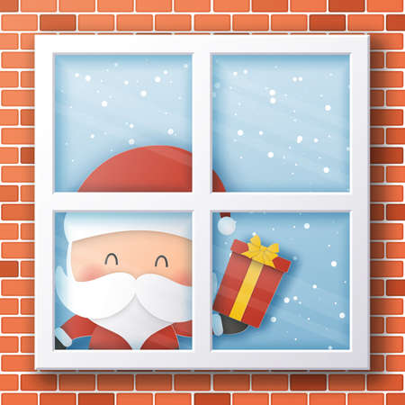 Santa Claus looking through window,Christmas and Happy New Year,Paper art design and craft style 스톡 콘텐츠 - 135406705