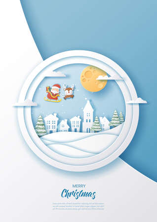 Modern paper circle with Santa Claus and reindeer flying,Merry Christmas and Happy New Year,Paper art design and craft style