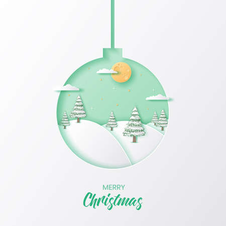 Christmas ball with winter season background,Merry christmas and happy new year paper art style,Vector illustration
