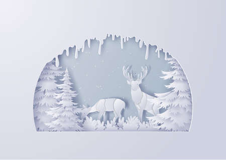 Reindeer walks through a forest in the beginning of winter,Christmas and Happy New Year,Paper art design and craft style Ilustracja