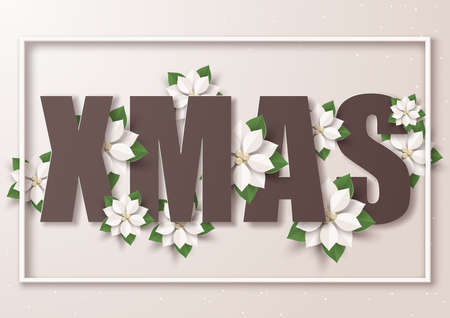 Xmas and Cream poinsettia flowers,Merry Christmas and happy new year greeting card,Paper art design and craft style Illusztráció