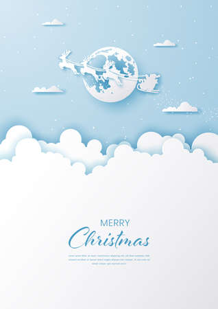 Postcard Christmas background Santa Claus with full moon on the sky,Merry Christmas and Happy New Year Ilustracja