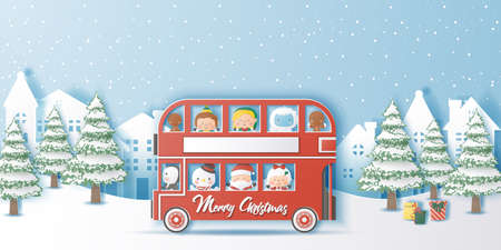 Double Decker Christmas,Santa and his friends,Paper cut style vector illustration
