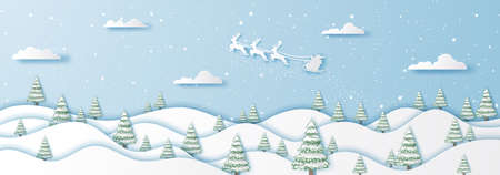 Santa Clause flying on sky and winter snow landscape city,Happy new year and merry christmas,Paper art and craft style 스톡 콘텐츠 - 135413830