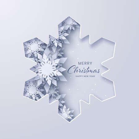 Snowflake paper cut, Merry Christmas and Happy New Year,Paper art design and craft style