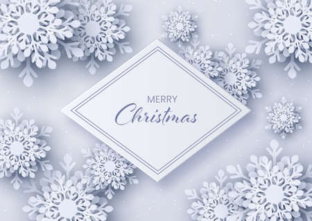 Snowflake paper cut decor,Merry Christmas and Happy New Year greeting card design,Paper art design and craft style