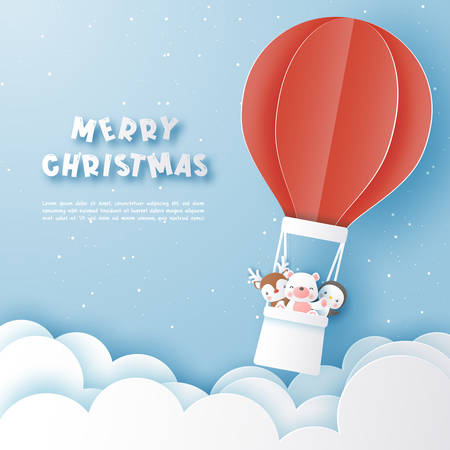 Characters of christmas in balloon on the sky,Paper cut and craft style