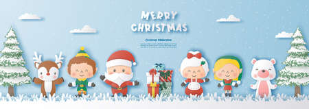 Paper art style of santa claus and friends with Christmas tree and snowflake background, Merry christmas and happy new year concept