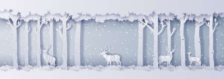 Illustration of winter season and Christmas day Deer in forest with snow, paper art digital craft style 일러스트