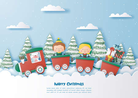 Christmas party on the train with elf and cute polar bear,Merry christmas and happy new year,Paper art and digital craft style  Çizim