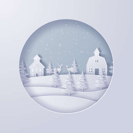 Illustration of winter nature landscape with snowflakes,Merry Christmas and new year concept,Paper art design and craft style  Çizim