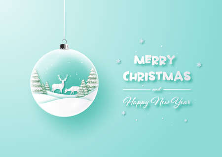 Merry Christmas and happy new year glass ball on background,Paper art landscape with tree and house design,Vector illustration