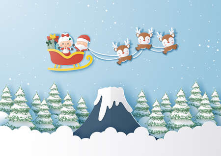 Santa Claus and wife flying over snow mountain, Merry Christmas and Happy New Year,Paper cut and craft style