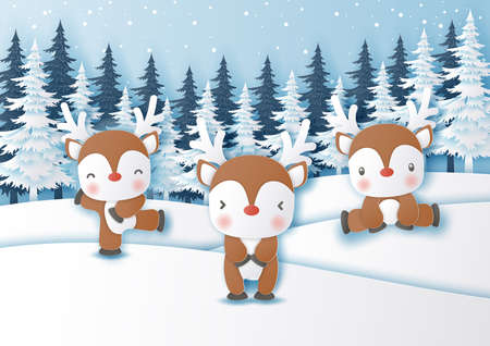 Cute reindeer in the snow forest in paper cut and craft style for Christmas background,Vector illustration