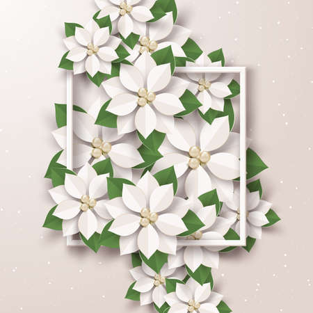 Merry Christmas and happy new year greeting card,Cream poinsettia flowers,Paper art design and craft style
