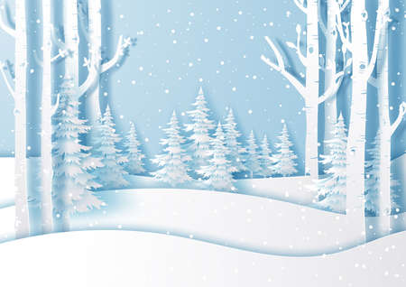 Illustration of Winter landscape with snow fall in forest,Paper cut and craft design