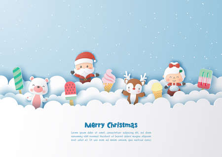 Characters of christmas and ice cream,Happy New Year,Paper art design and craft style Çizim