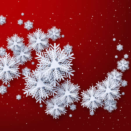 Snowflake paper cut decor on red background,Merry Christmas and Happy New Year greeting card design,Paper art design and craft style  Çizim