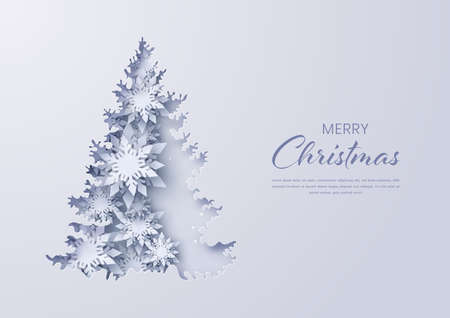 Paper cut christmas tree on background with snowflakes,Gretting card,Vector illustration