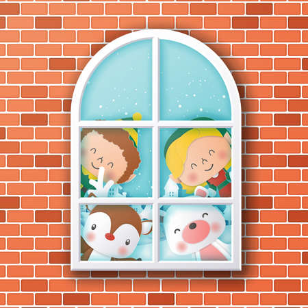 Characters of christmas looking through window,Christmas and Happy New Year,Paper art design and craft style 일러스트
