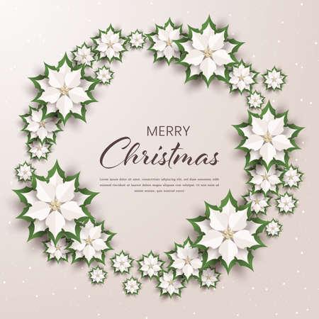 Feliz Navidad y feliz año nuevo tarjeta de felicitación, flores de nochebuena color crema, diseño de arte en papel y estilo artesanal