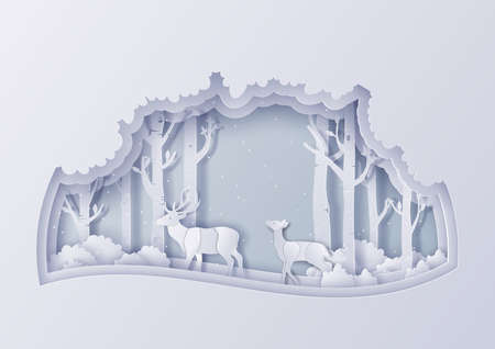 Illustration of winter nature landscape with snowflakes,Merry Christmas and new year concept,Paper art design and craft style