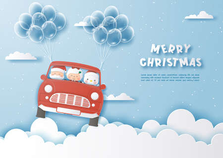 Santa Claus and friend driving Christmas red car on the sky and balloons,Merry Christmas and Happy New Year,Paper cut and craft style