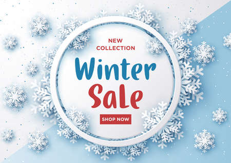 Winter sale banner design with snowflakes on white and sky blue background,Paper art style Çizim