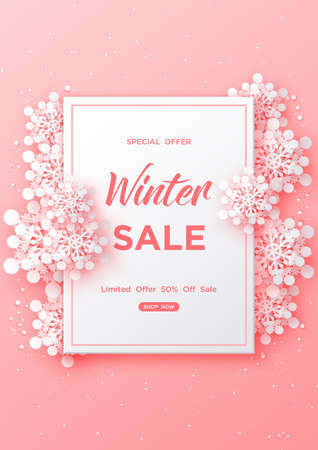 Winter sale banner design with snowflakes on pastel pink background,Paper art style