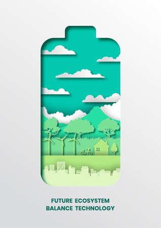 Future ecosystem concept,paper cut style vector illustration.
