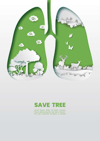 Green healthy lungs with trees concept,Paper art and digital craft style. Çizim