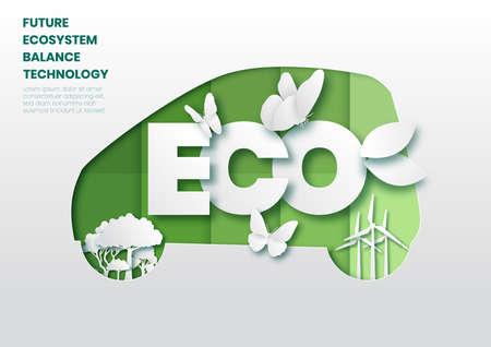 Future ecosystem concept paper cut style vector illustration. Çizim