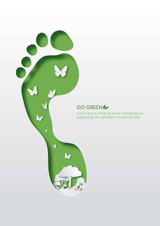 Going green concept,Footprint paper cut style vector illustration.