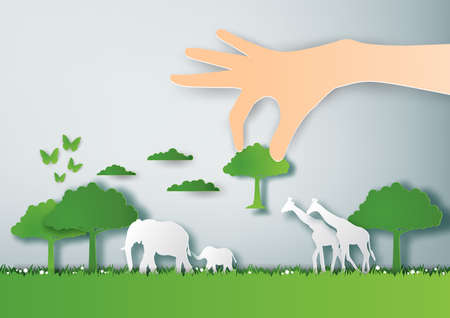 Illustration of eco and environment with natural tree growing on hand,Paper art and digital craft style Çizim