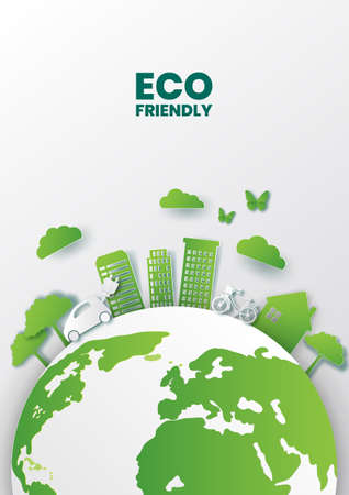 Green energy concept design,Paper art style of eco city concept and environment conservation,Vector illustration