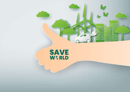 Green city and save world concept with tree and Wind Turbine,Paper art and digital craft style Çizim